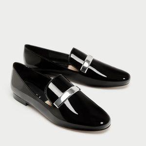 Zara Black sz 6 Patent Shoes w/Metal Band